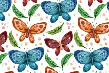 水彩绘蝴蝶和叶子无缝背景矢量图