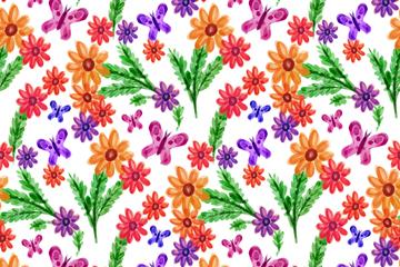 水彩绘蝴蝶和花卉无缝背景矢量图
