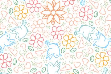 彩色花卉和鸟无缝背景矢量素材