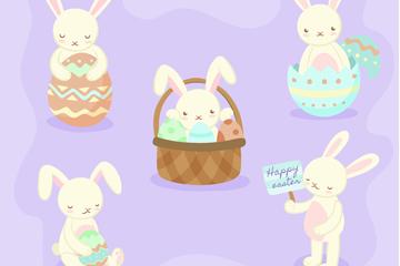 5款可��突罟�白兔矢量素材