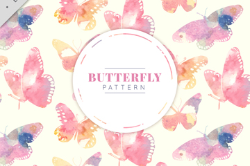 水彩绘蝴蝶无缝背景矢量素材
