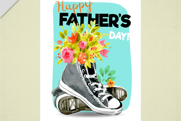 彩绘帆布鞋花卉父亲节贺卡矢量图