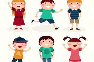 6款可爱笑脸儿童矢量素材