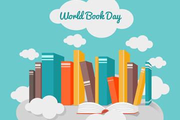 创意世界图书日云上的书籍矢量素