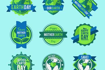 9款绿色世界地球日标签矢量图