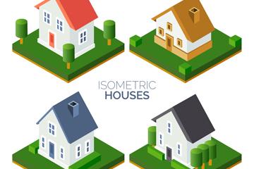 4款立体住宅设计矢量素材