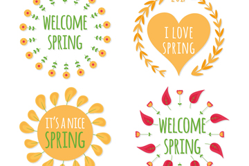 4款手绘春季标签矢量素材