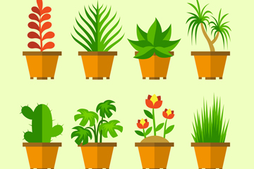 8款扁平化绿色盆栽矢量素材