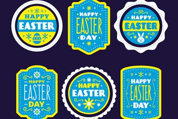 6款蓝色复活节标签矢量素材