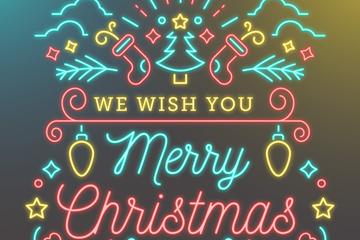 创意圣诞节霓虹灯祝福卡矢量素材