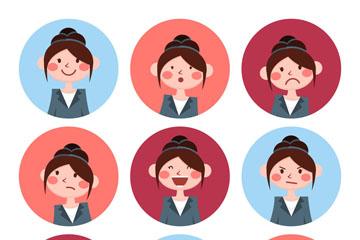 9款圆形女子头像表情矢量素材