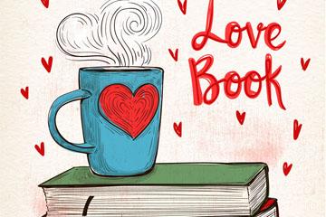 彩绘书本上的热咖啡矢量素材