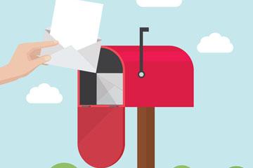 创意邮箱中取信的手臂矢量图