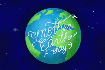 彩绘世界地球日地球矢量素材