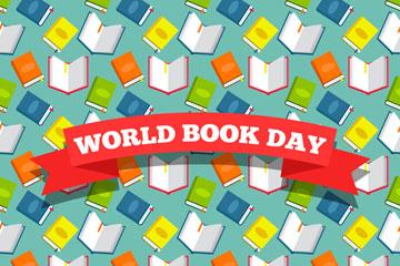 彩色世界图书日无缝背景矢量图