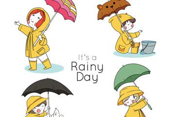 4款彩绘雨天打伞的儿童矢量素材