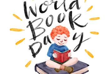 彩绘世界图书日阅读男孩矢量素材