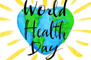 彩绘世界健康日心型地球矢量图