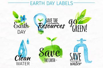 8款水彩绘世界地球日标签矢量图