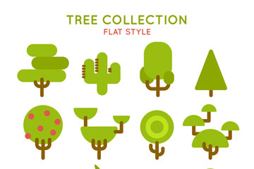 12款扁平化绿色树木矢量素材
