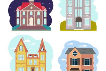 4款创意建筑设计矢量素材