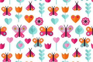 彩色扁平化蝴蝶和花卉无缝背景矢量图
