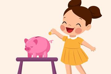 卡通向储蓄罐存钱的女孩矢量图