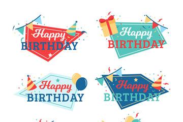 6款抽象生日快乐标签矢量素材
