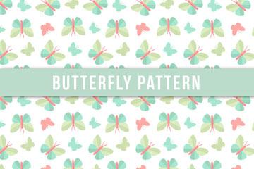 抽象扁平化蝴蝶无缝背景矢量图