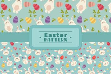 2款彩色兔子和彩蛋无缝背景矢量图