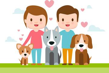 卡通年轻夫妇和3只宠物狗矢量图