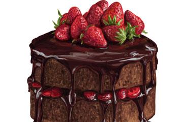 美味草莓巧克力蛋糕矢量素材