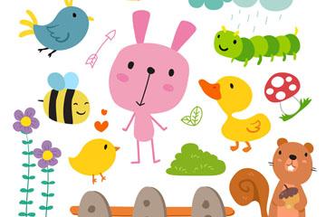 8款可爱卡通动物和昆虫矢量素材
