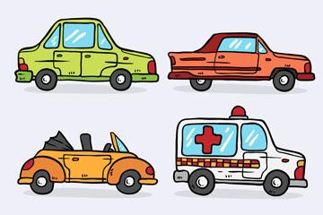 6款彩绘车辆设计矢量素材