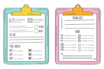 2款彩绘清单设计矢量素材