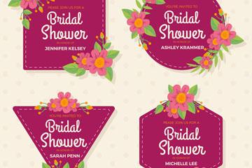 4款玫红色新娘送礼会标签矢量图