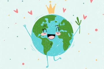 可爱世界地球日笑脸地球矢量图