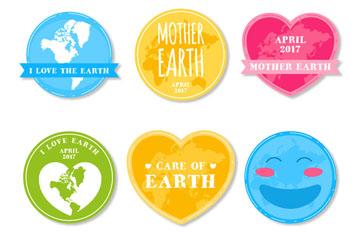 6款手绘世界地球日标签矢量图