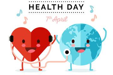 扁平化世界健康日爱心和地球矢量