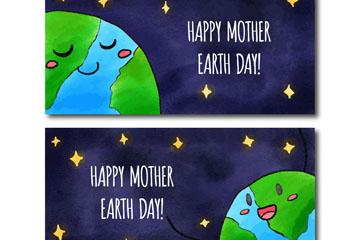 2款彩绘可爱世界地球日banner矢量图