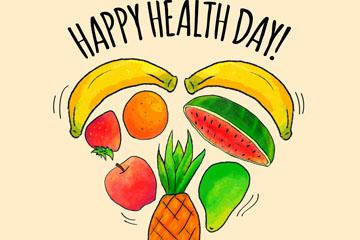 彩绘世界健康日水果爱心矢量图