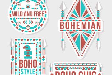 4款彩色波西米亚标签矢量素材