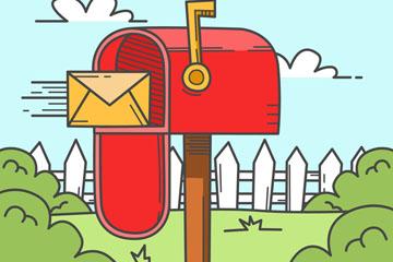彩绘花园里的红色信箱矢量素材