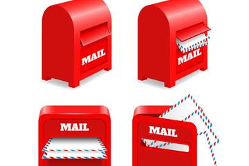 4款红色信箱设计矢量素材