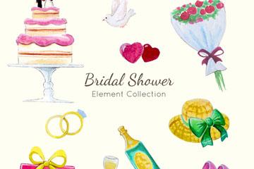 10款水彩绘新娘送礼会元素矢量图