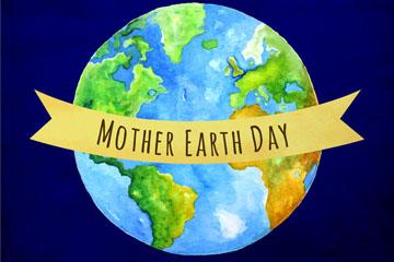 彩绘世界地球日地球贺卡矢量素材