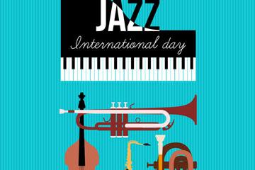 创意国际爵士乐日乐器贺卡矢量图