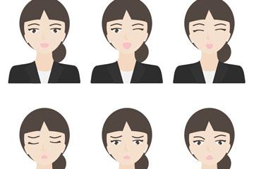 6款创意低马尾商务女子表情矢量图