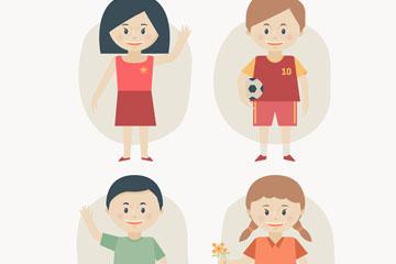 4款创意笑脸儿童矢量素材