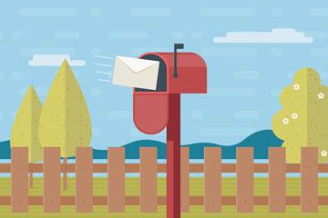 彩色花园里的红信箱矢量素材